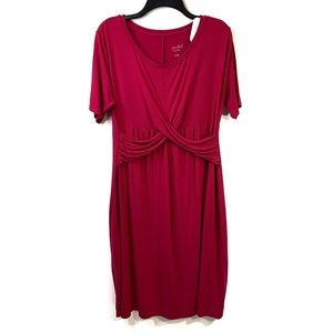 Isabel Maternity Size L Pink Ruched T-Shirt Dress